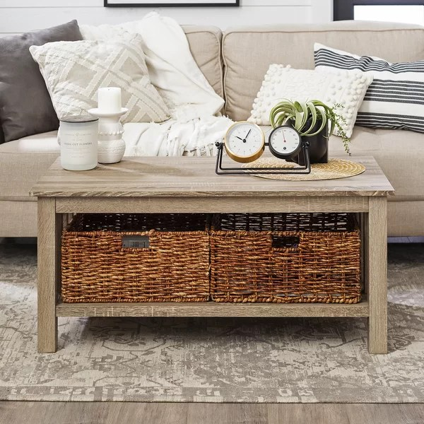 coffee table with baskets