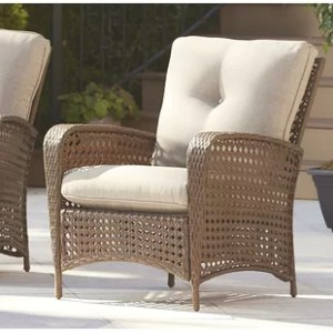Round Outdoor Chair   Wayfair Edwards Patio Chair with Cushion  Set of 2
