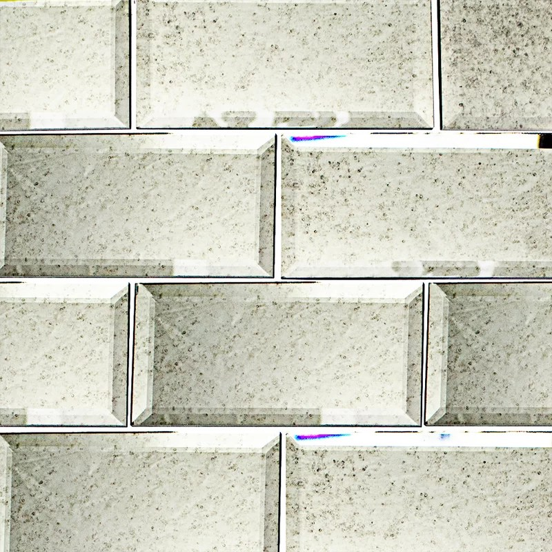 mirror 3 x 6 beveled glass subway tile in french gray