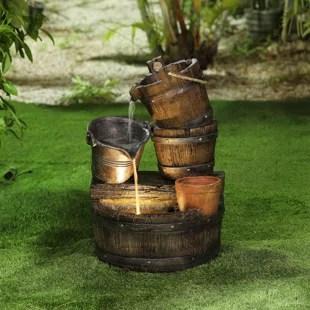 ariane resin whiskey barrel patio fountain