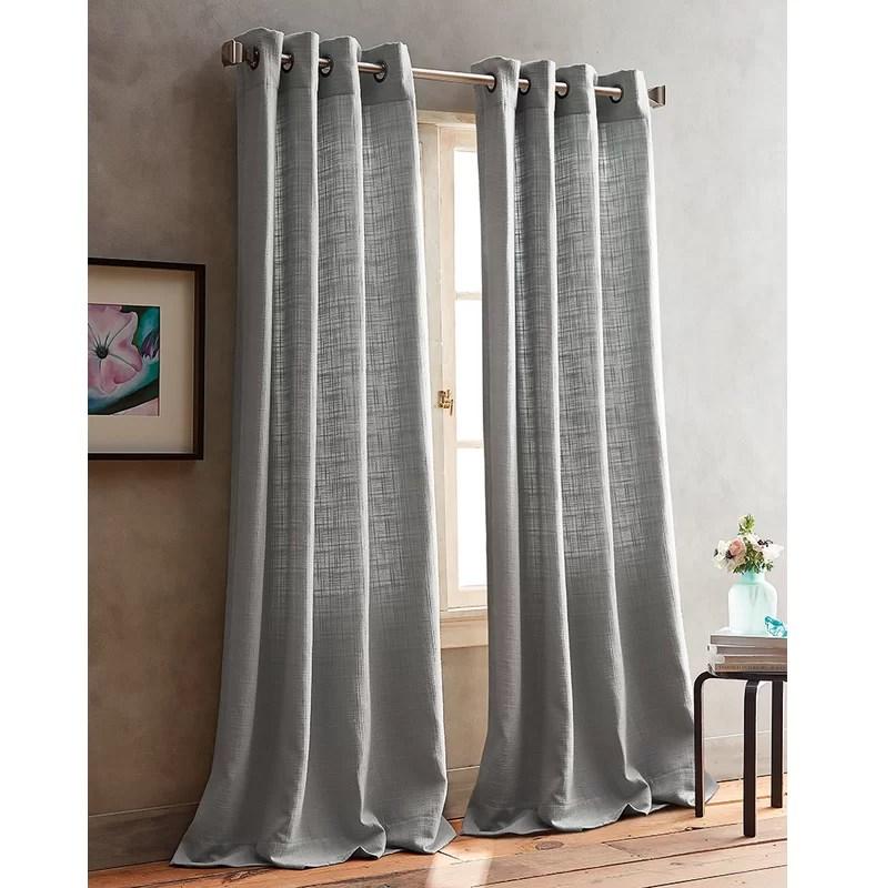 boucle solid semi sheer grommet curtain panels