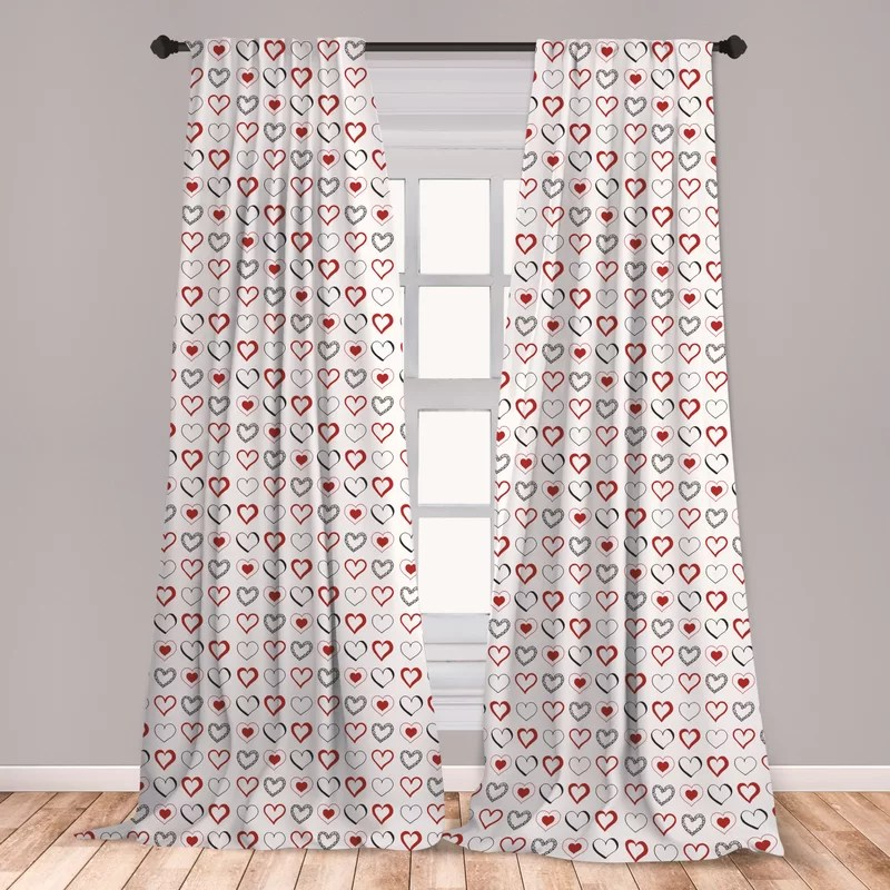 ambesonne love curtains hand drawn style doodle hearts valentines day romance hipster modern pattern window treatments 2 panel set for living room