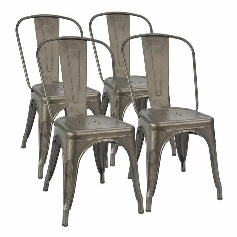 Lilian Metal Slat Back Stacking Side Chair (Set of 4)