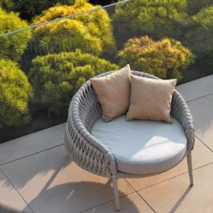Round Outdoor Chair   Wayfair Partlow Round Patio Chair with Cushions
