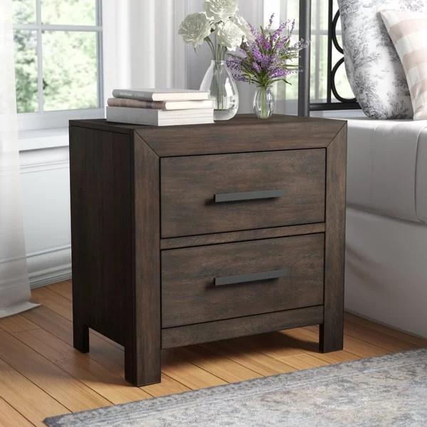 mccorkle 2 drawer solid wood nightstand in dark walnut