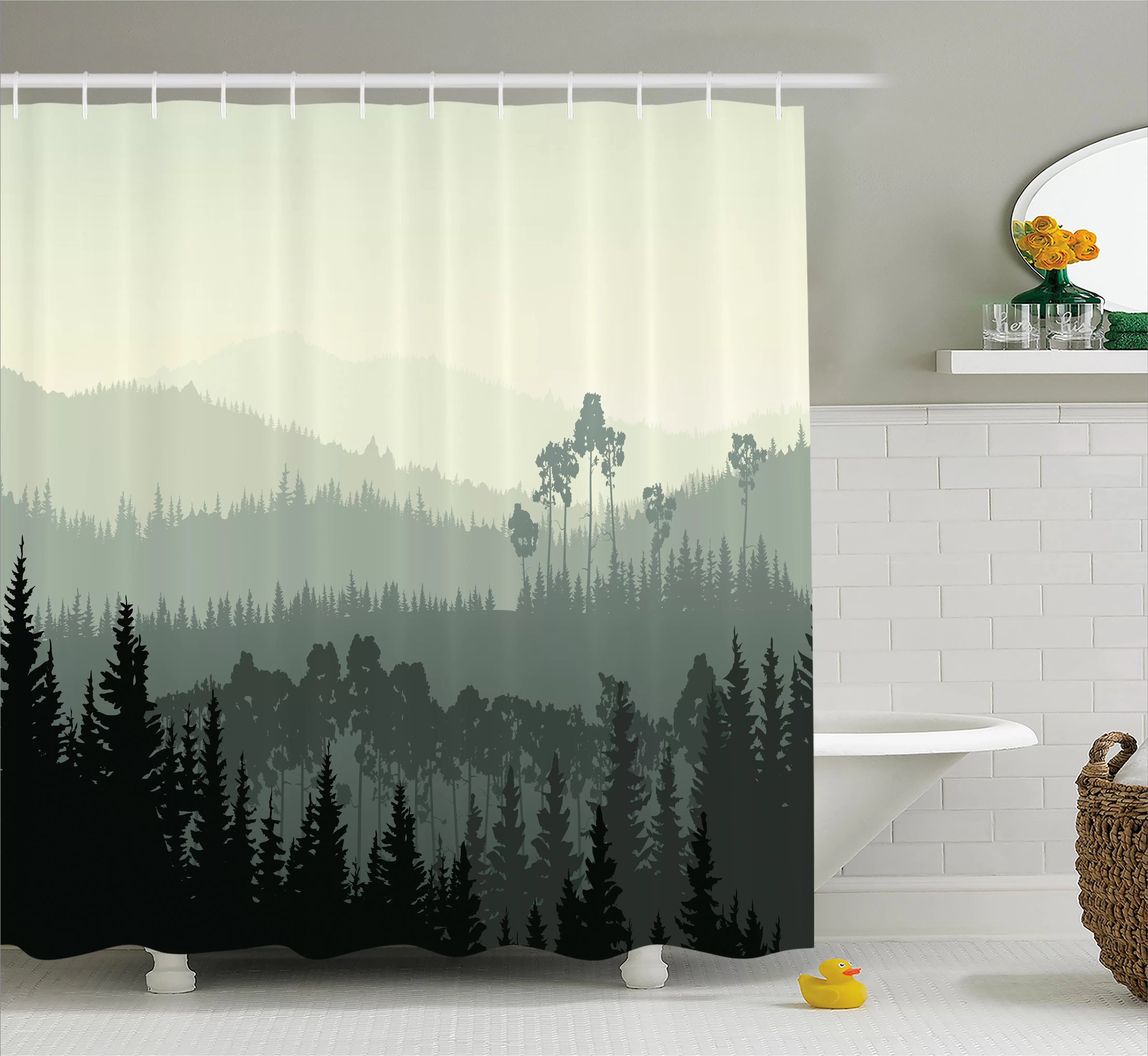 loon peak burroway the panorama of a valley and a mystic forest of pine trees single shower curtain wayfair