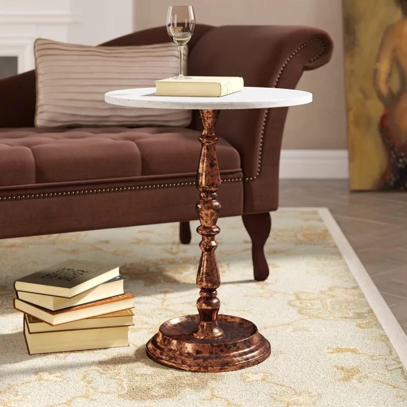 tamara marble top pedestal end table
