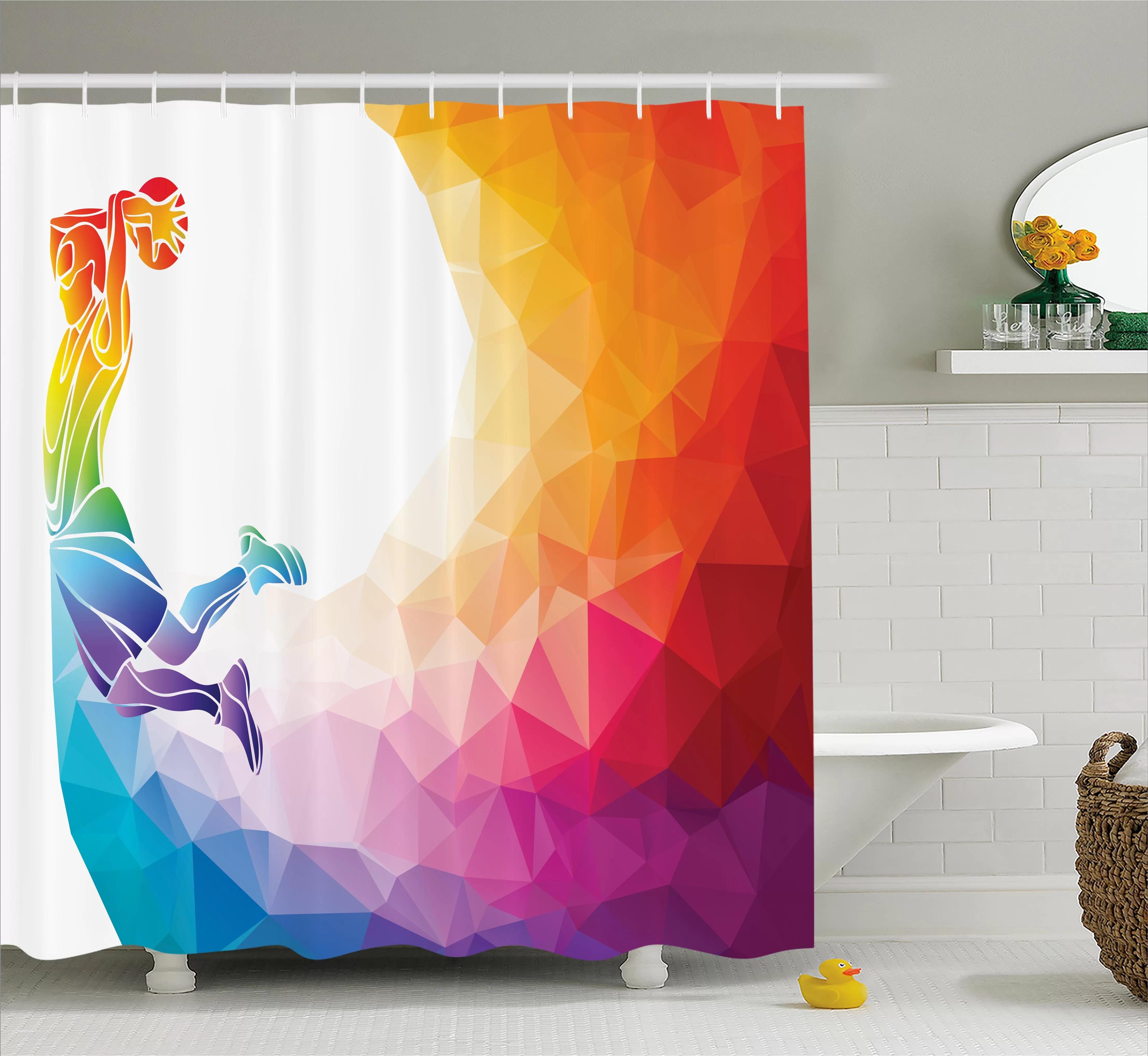 ebern designs kara rainbow coloured theme with a basketball player sports man jumps print single shower curtain wayfair ca