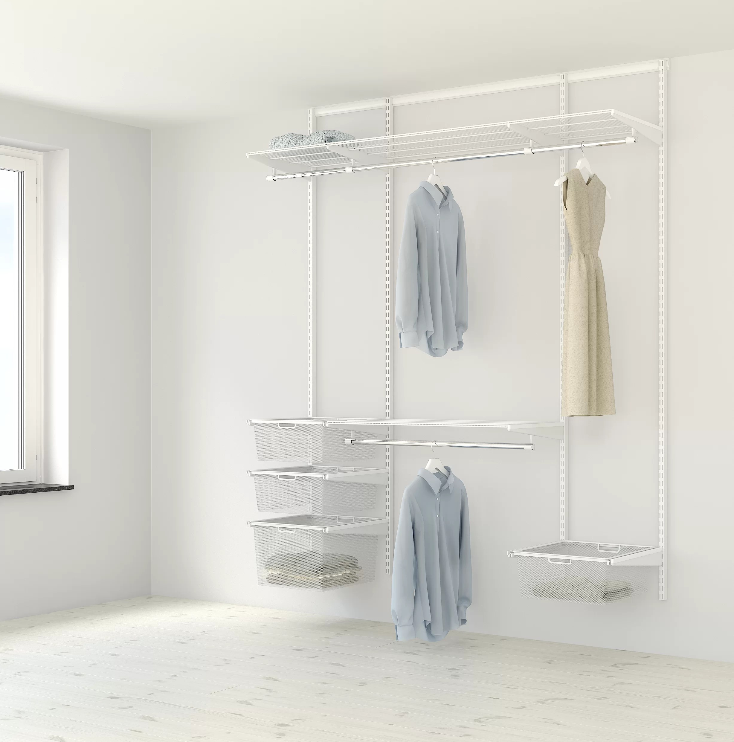 Elfa 185cm Wide Clothes Storage System