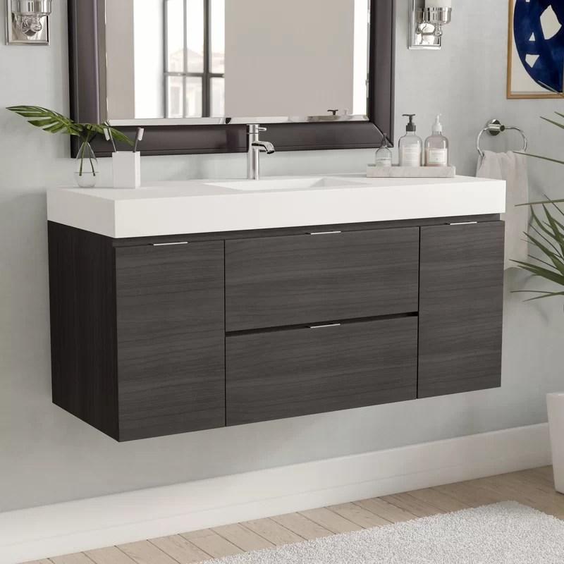 Wayfair Wade Logan Tenafly 48 Single Wall Mount Modern Bathroom Vanity Set