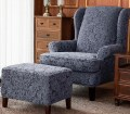 House Of Hampton Damask Printed Elastic T Cushion Wingback Chair Slipcover Reviews Wayfair
