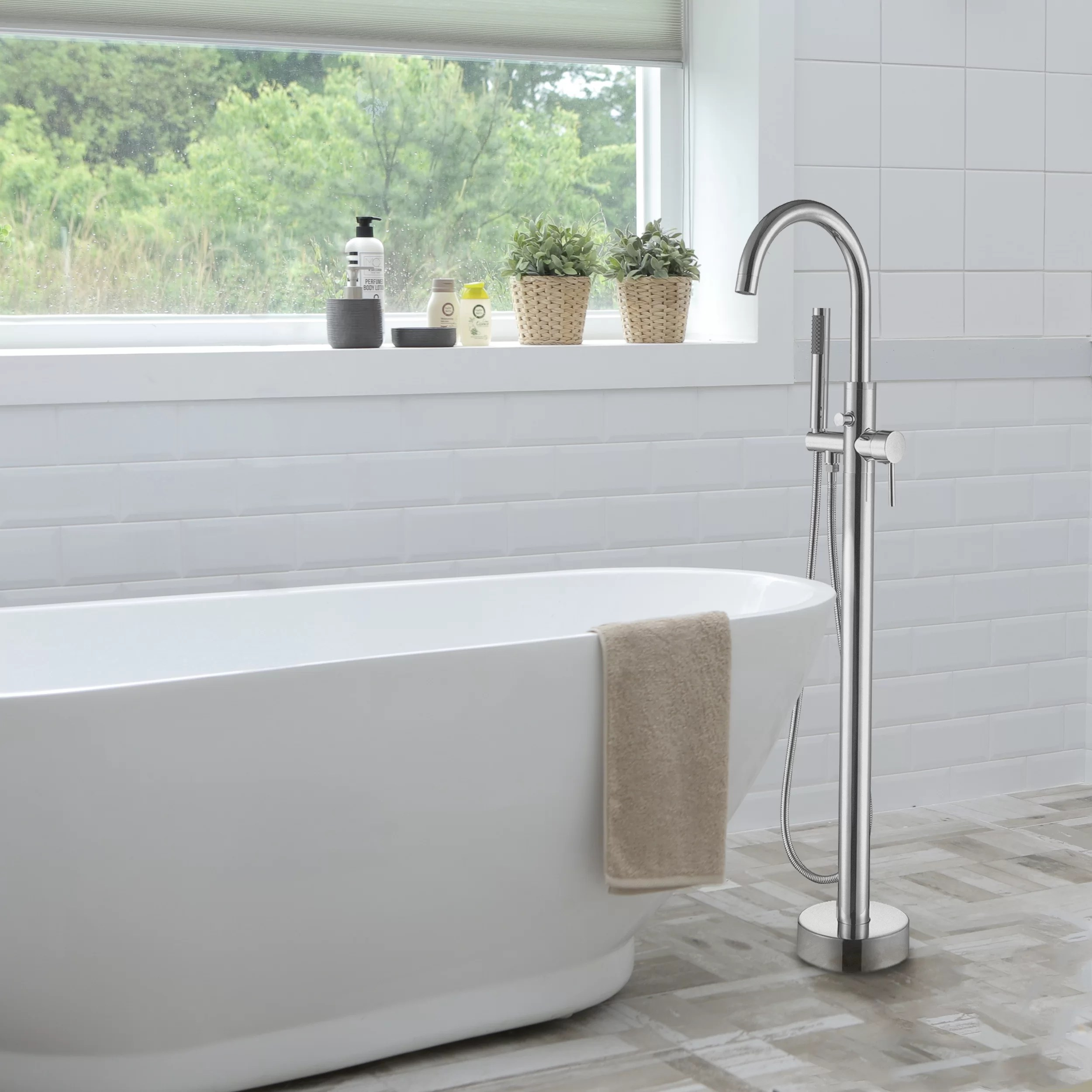 double handle floor mounted free standing tub filler with hand shower