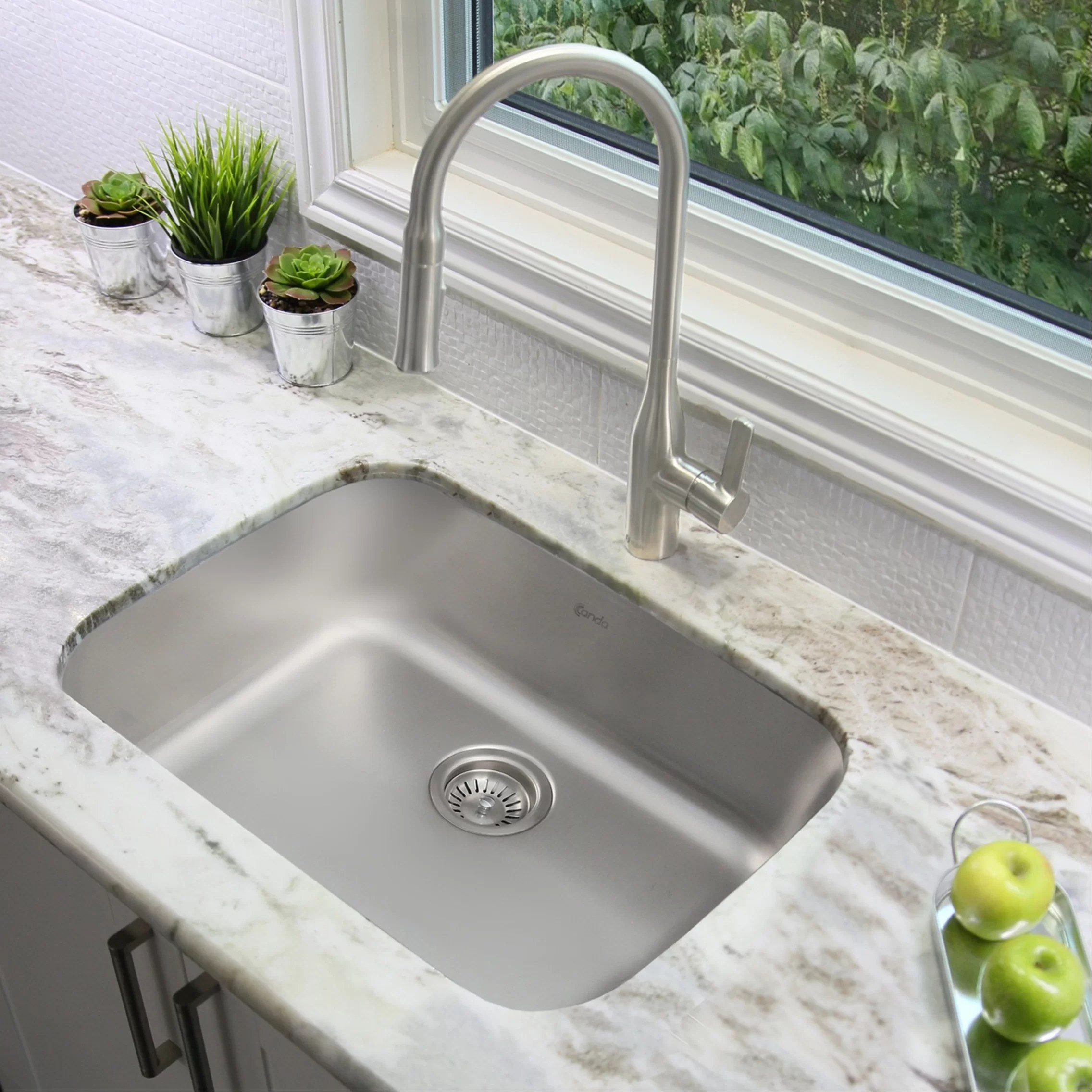 23 l x 18 w single basin undermount and drop in kitchen sink with strainer
