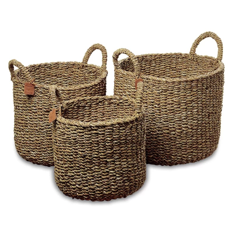 Nature Seagrass 3 Piece Wicker Storage Basket Set