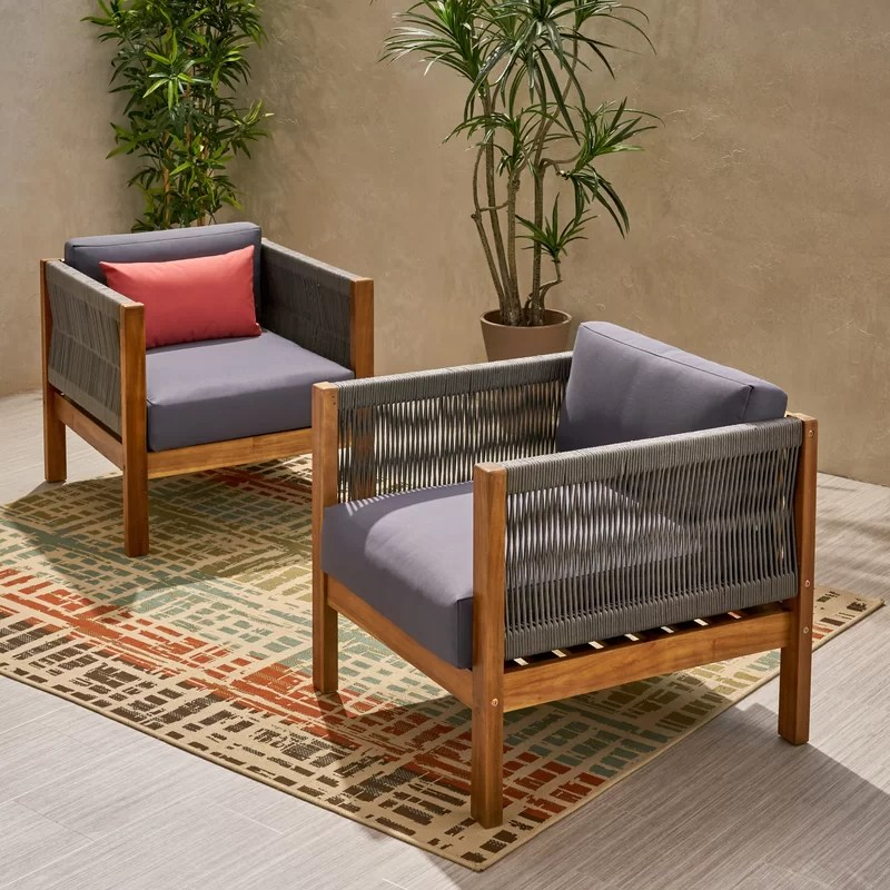 silke modern outdoor patio chair with cushions