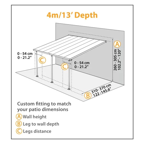 feria 14 ft w x 13 ft d plastic standard patio awning