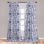 East Urban Home Ananas Watercolor 2 Panel Curtain Set Vibrant Blue Flowers Pattern Feminine Floral Spring Ornaments Lightweight Window Treatment Living Room Bedroom Decor 56 X 63 Violet Blue White Wayfair