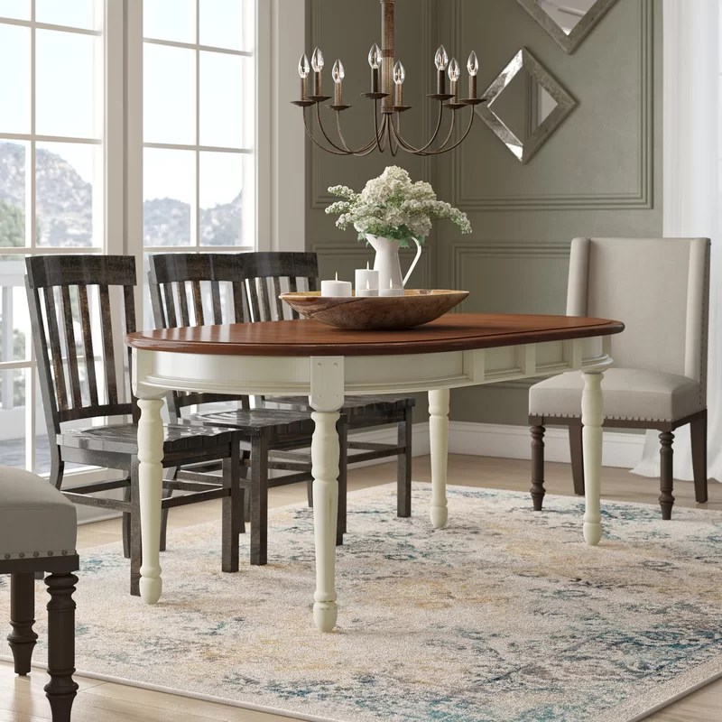 laurel foundry modern farmhouse shelburne extendable solid on solid wood dining table id=15056
