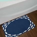 East Urban Home Ocean Navy Blue And White Navy Blue Bath Rug