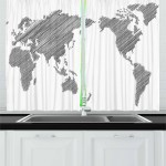 American Cartoon Map Window Drapes Kitchen Curtains 2 Panel Set 55 39 Inches