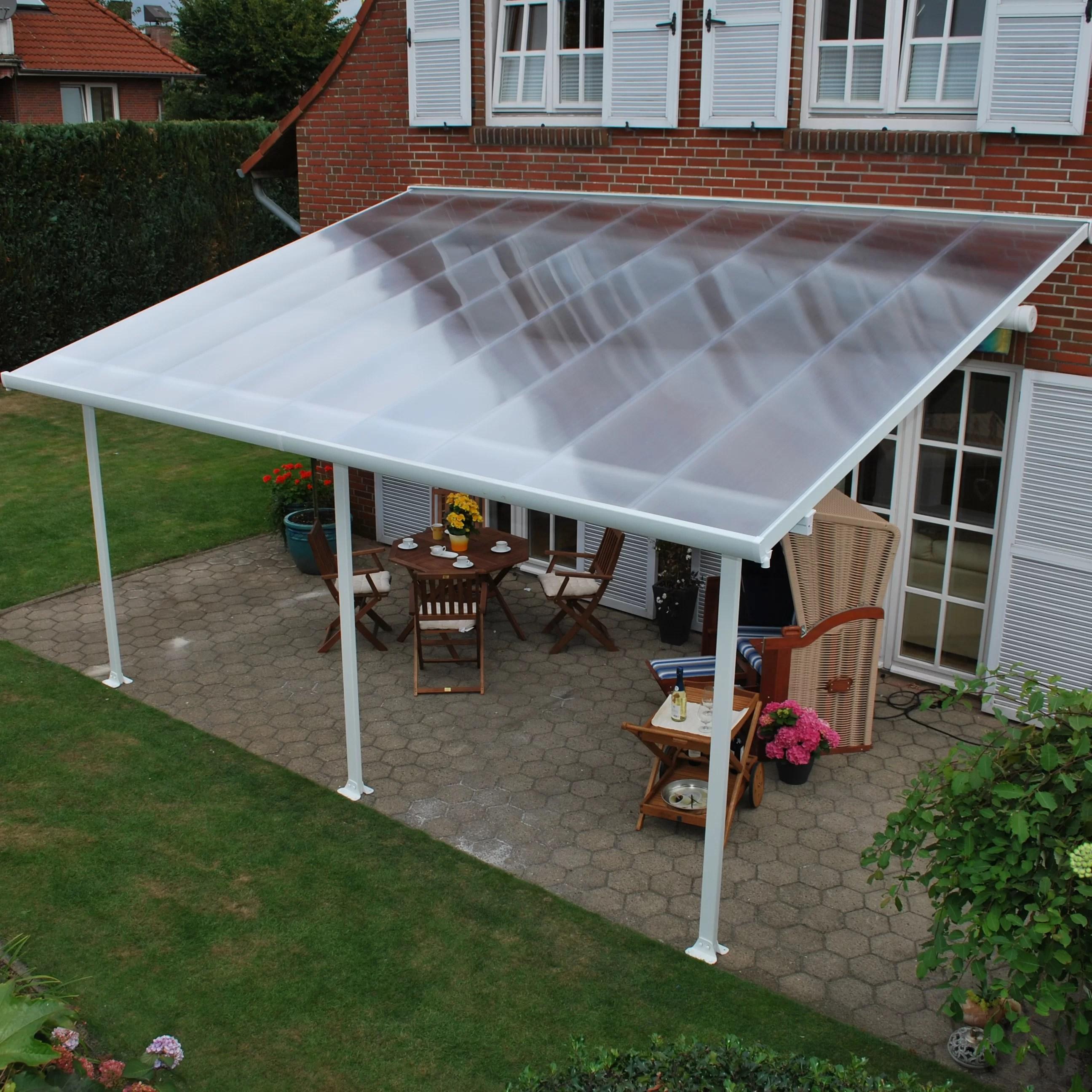 feria 28 ft w x 13 ft d plastic standard patio awning