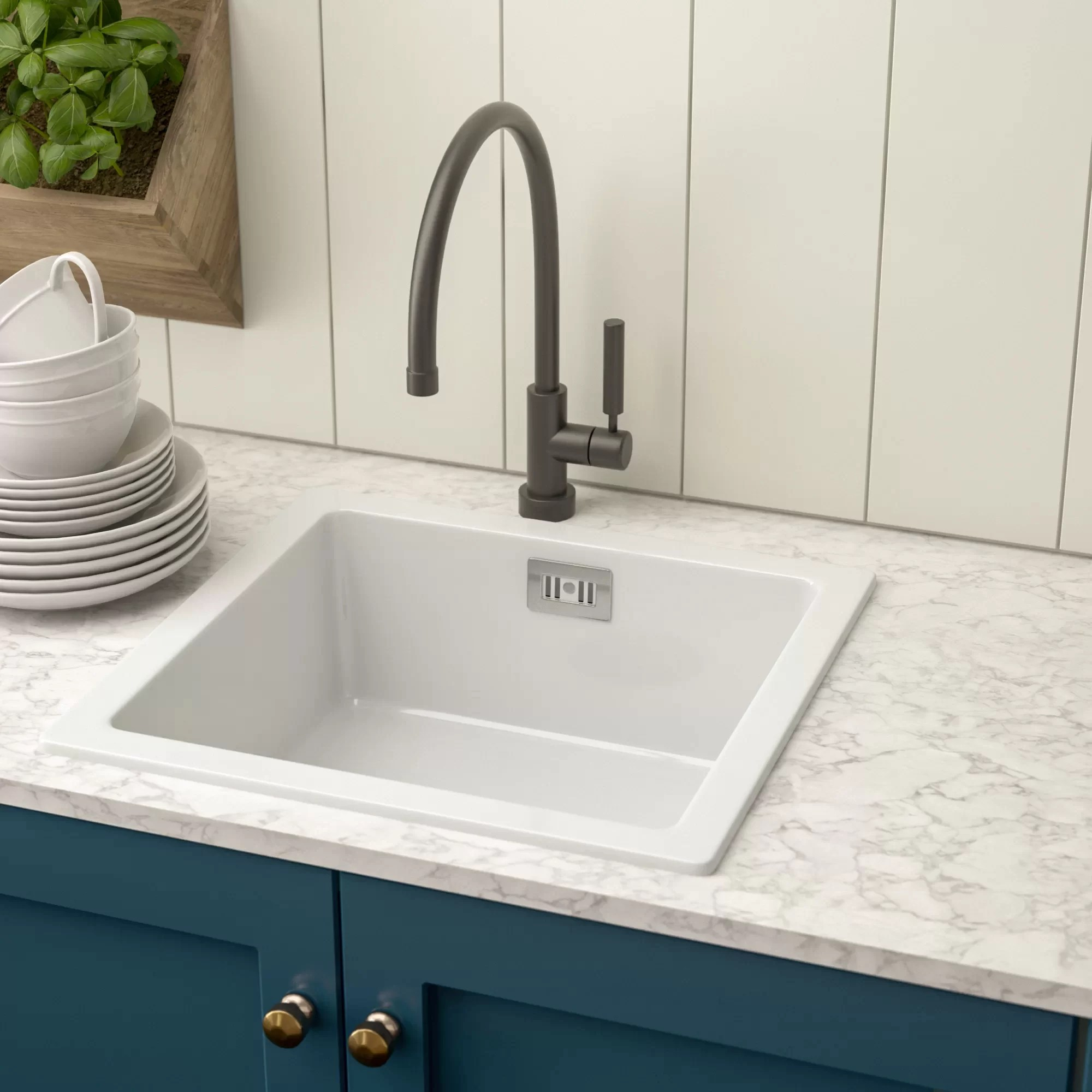 single bowl inset kitchen sink