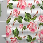 Furness Roses And Stripes Polyester Single Shower Curtain