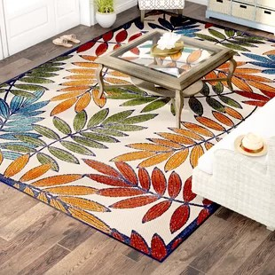 lahaina floral gold red green blue beige indoor outdoor area rug