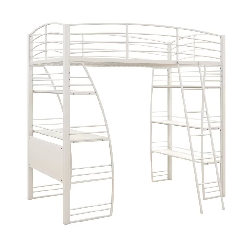 Kronos Twin Loft Bed with Shelves