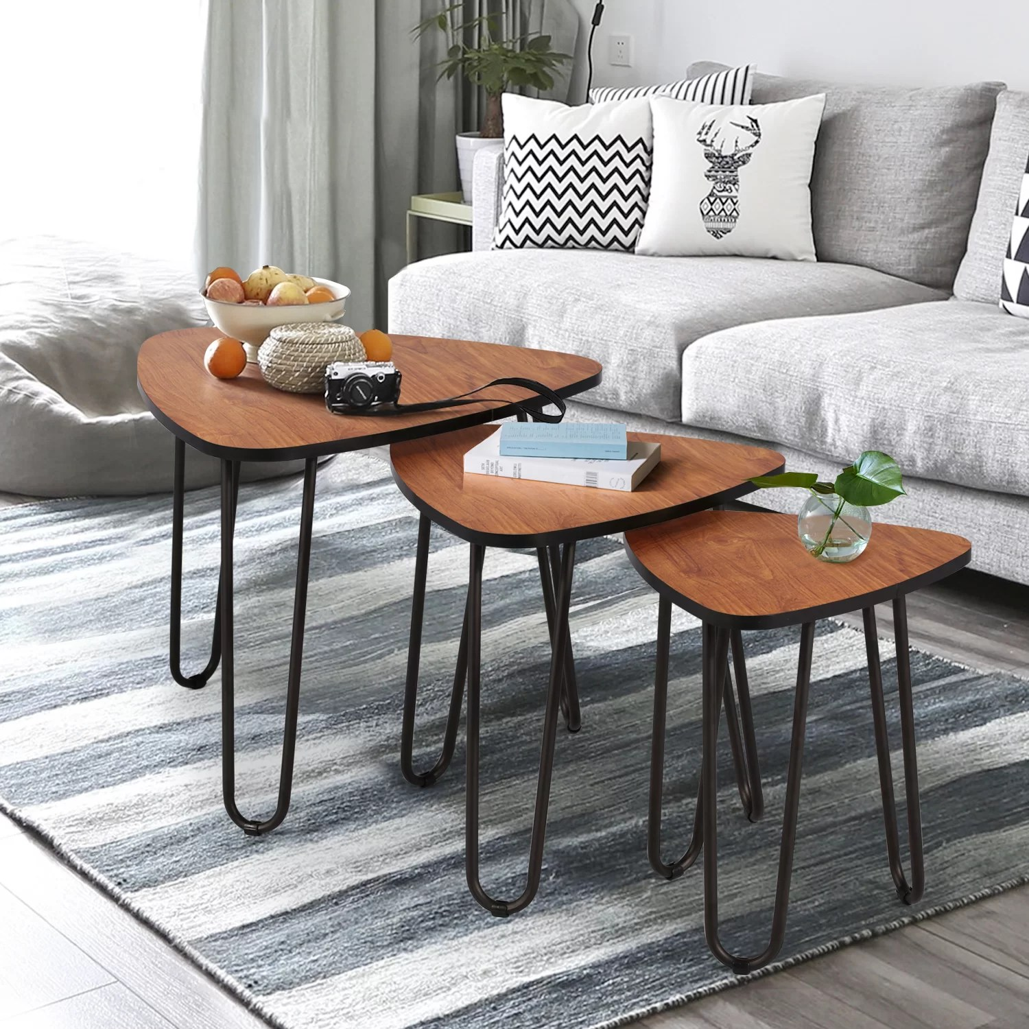 union rustic nesting coffee tables set of 3 end side tables modern furniture decor table sets sturdy and easy assembly accent furniture in home