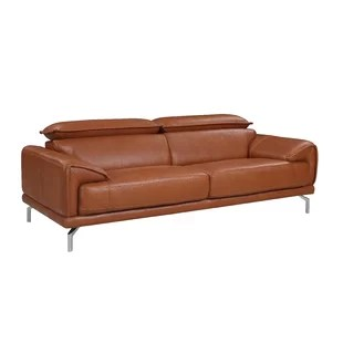 Tawny Mid Century Modern Leather Sofa