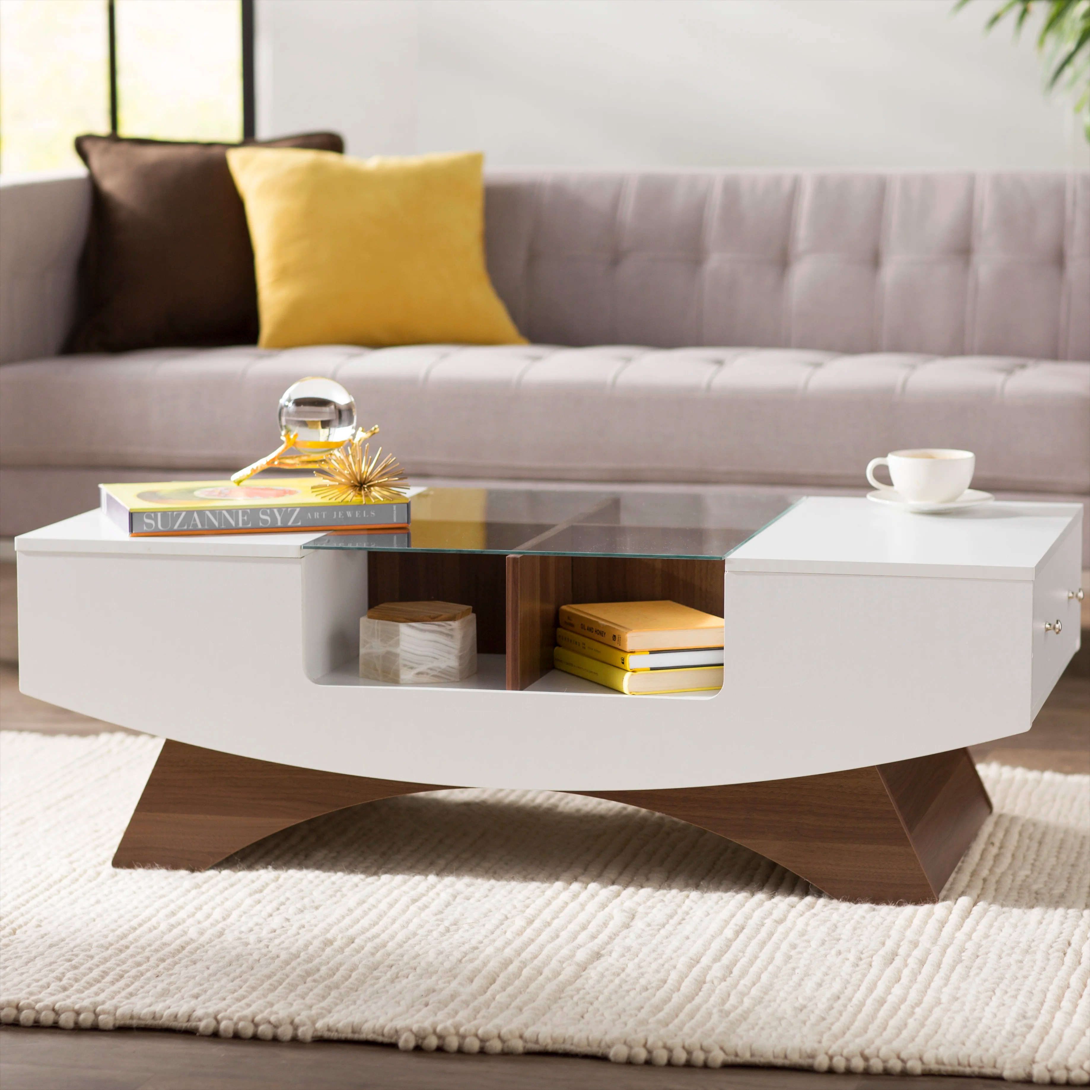 glass mid century modern coffee tables
