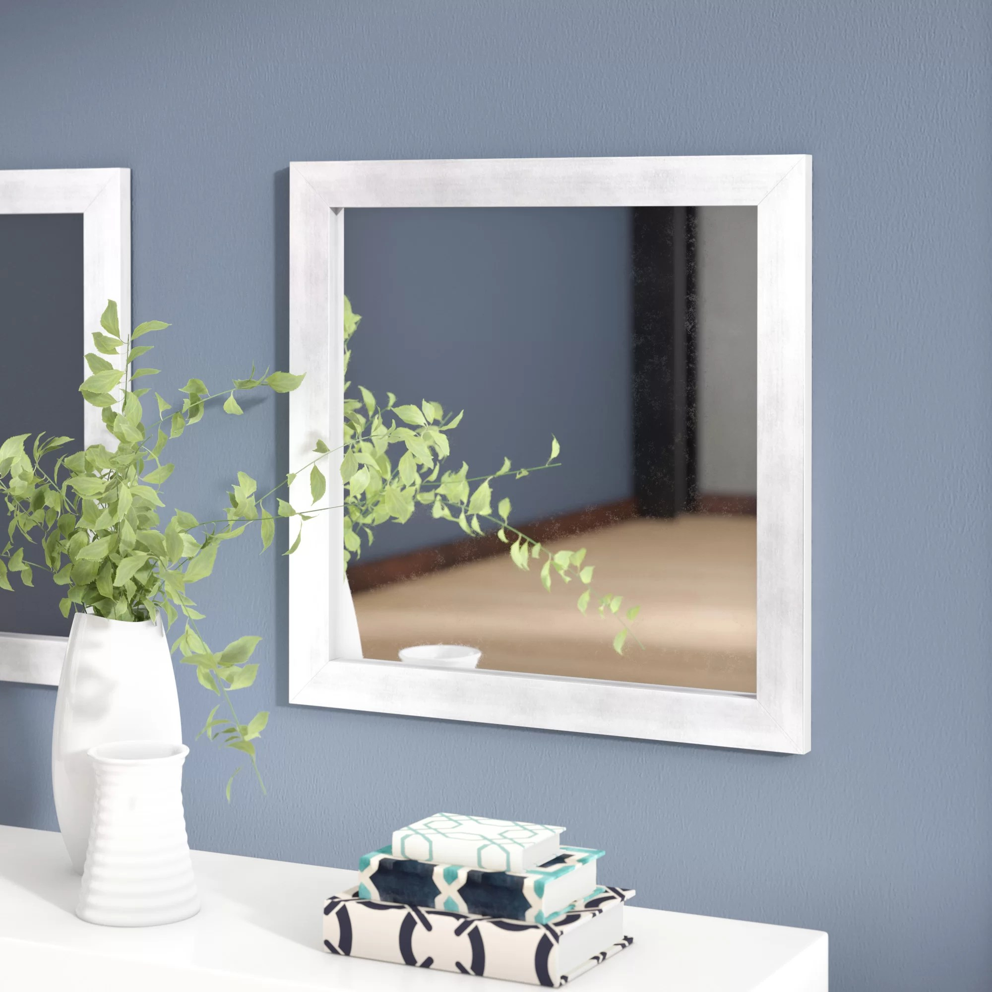 Square Hushed Modern And Contemporary Accent Wall Mirror