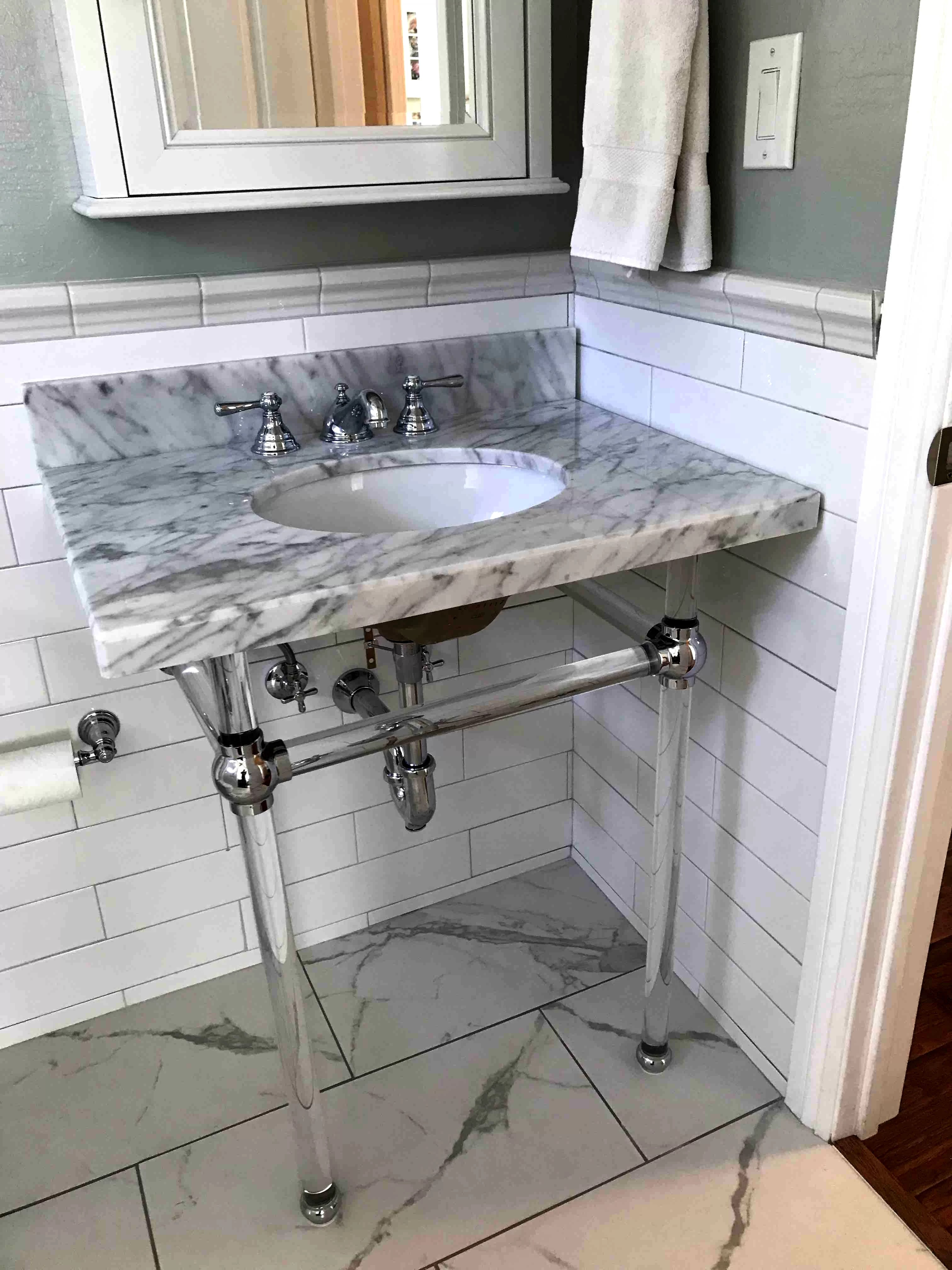 templeton 33 tall oval console bathroom sink with overflow