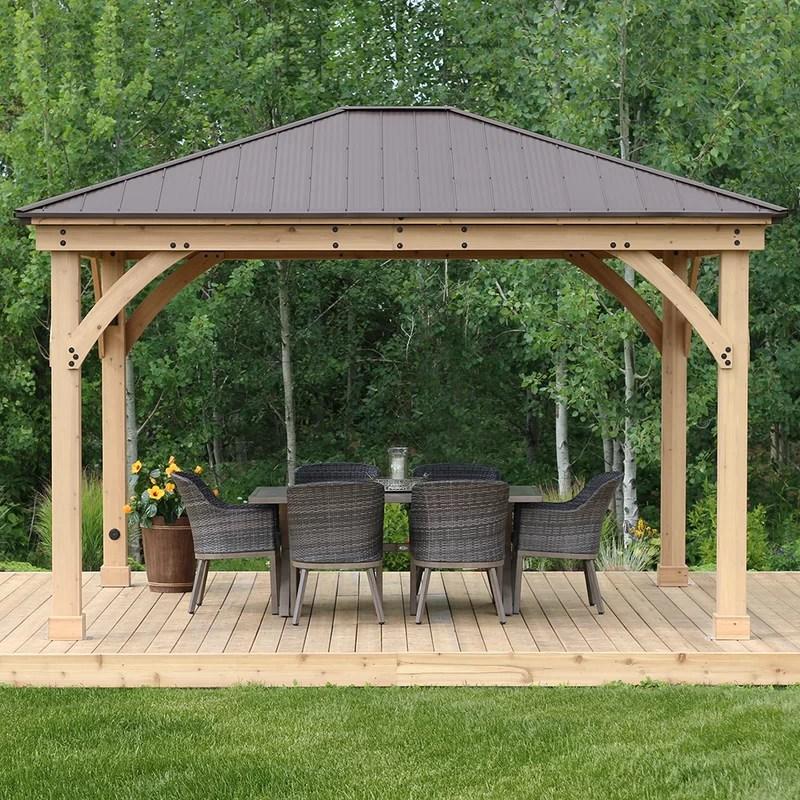 Yardistry Meridian 12 Ft. W x 14 Ft. D Solid Wood Patio ... on Yardistry Backyard Pavilion id=34957