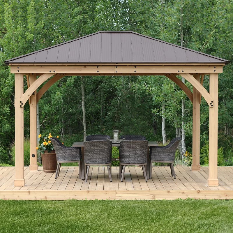 meridian 14 ft w x 12 ft d solid wood patio gazebo