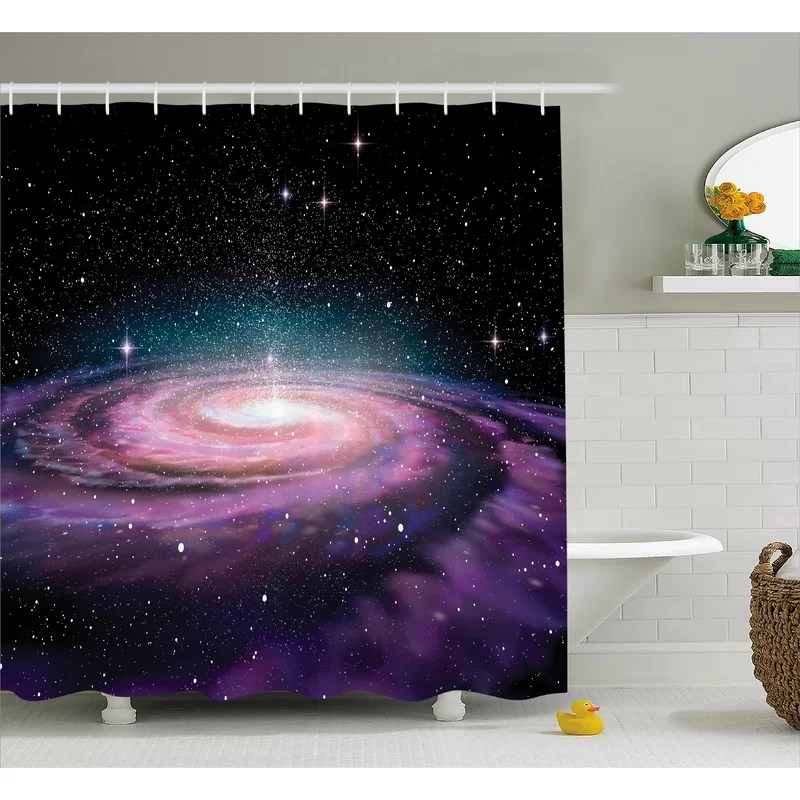 outer space shower curtain hooks