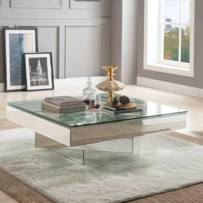 Orren Ellis Ulibarri Modern Square Glass And Mirror Coffee Table Reviews Wayfair