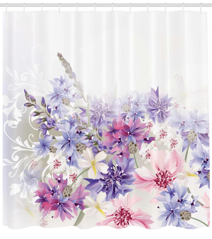 burma pink purple flowers single shower curtain