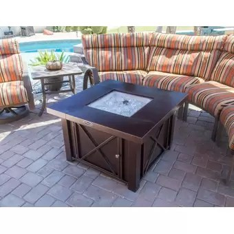 Living Accents Herrington Square Decorative Table Gas Fire Pit on Propane Fire Pit Ace Hardware id=58903