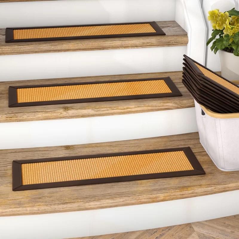 Gracie Oaks Dawes Sisal Carpet Gold Chocolate Brown Stair Tread | Sisal Carpet Stair Treads | Area Rugs | Fiber Sisal | Natural Fiber | Etsy | Oak Valley