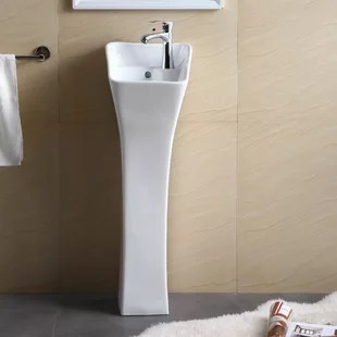 34 25 tall vitreous china rectangular pedestal bathroom sink with overflow