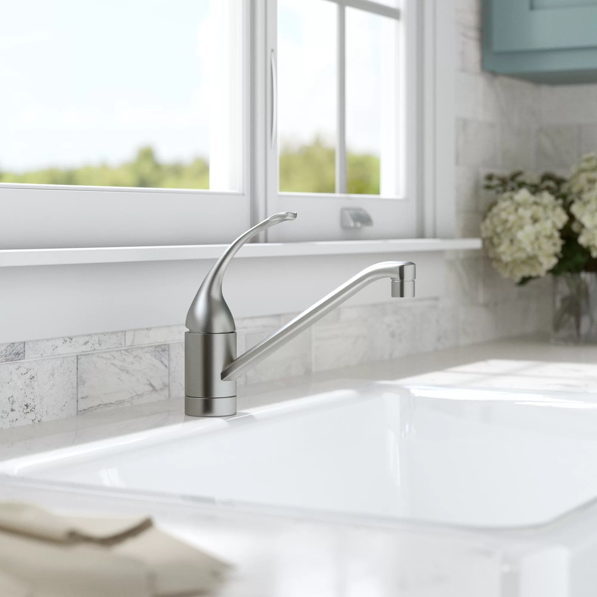 coralais single hole kitchen sink faucet with 10 spout and loop handle