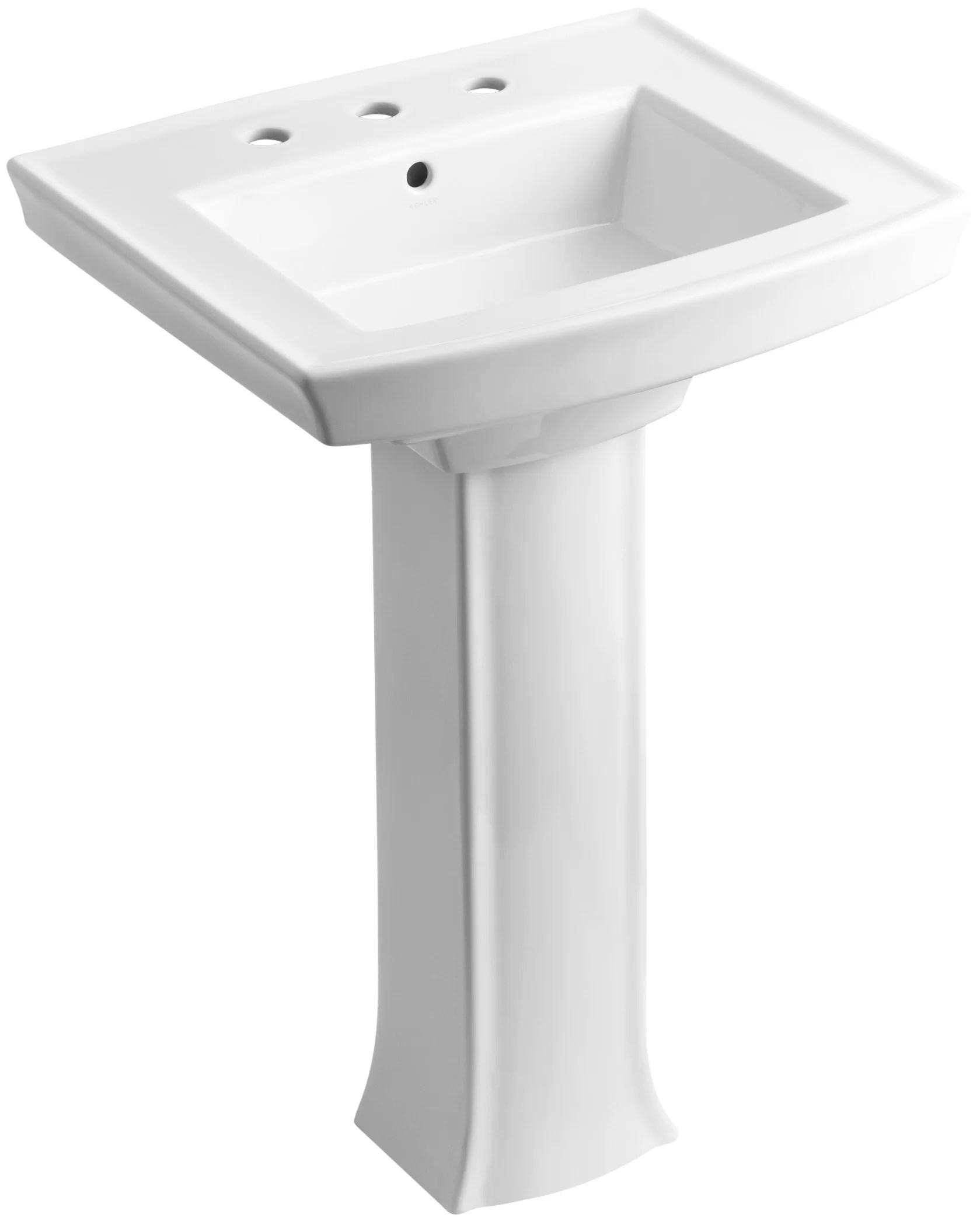 thunder grey kohler k 2359 8 58 archer pedestal bathroom sink with 8 centers pedestal sinks bonsaipaisajismo kitchen bath fixtures