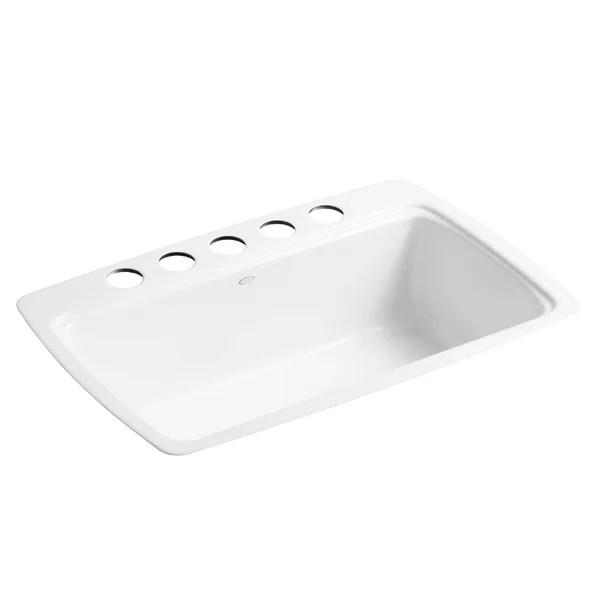 cape dory 33 l x 22 w x 9 5 8 under mount single bowl kitchen sink with 5 oversize faucet holes