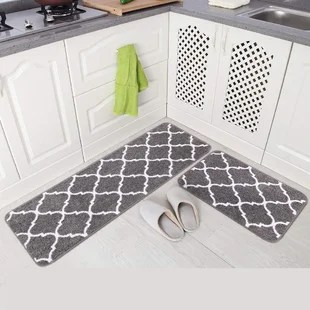 2 pieces microfiber moroccan trellis non slip soft kitchen mat bath rug doormat runner carpet set 20 x59 20 x31 grey