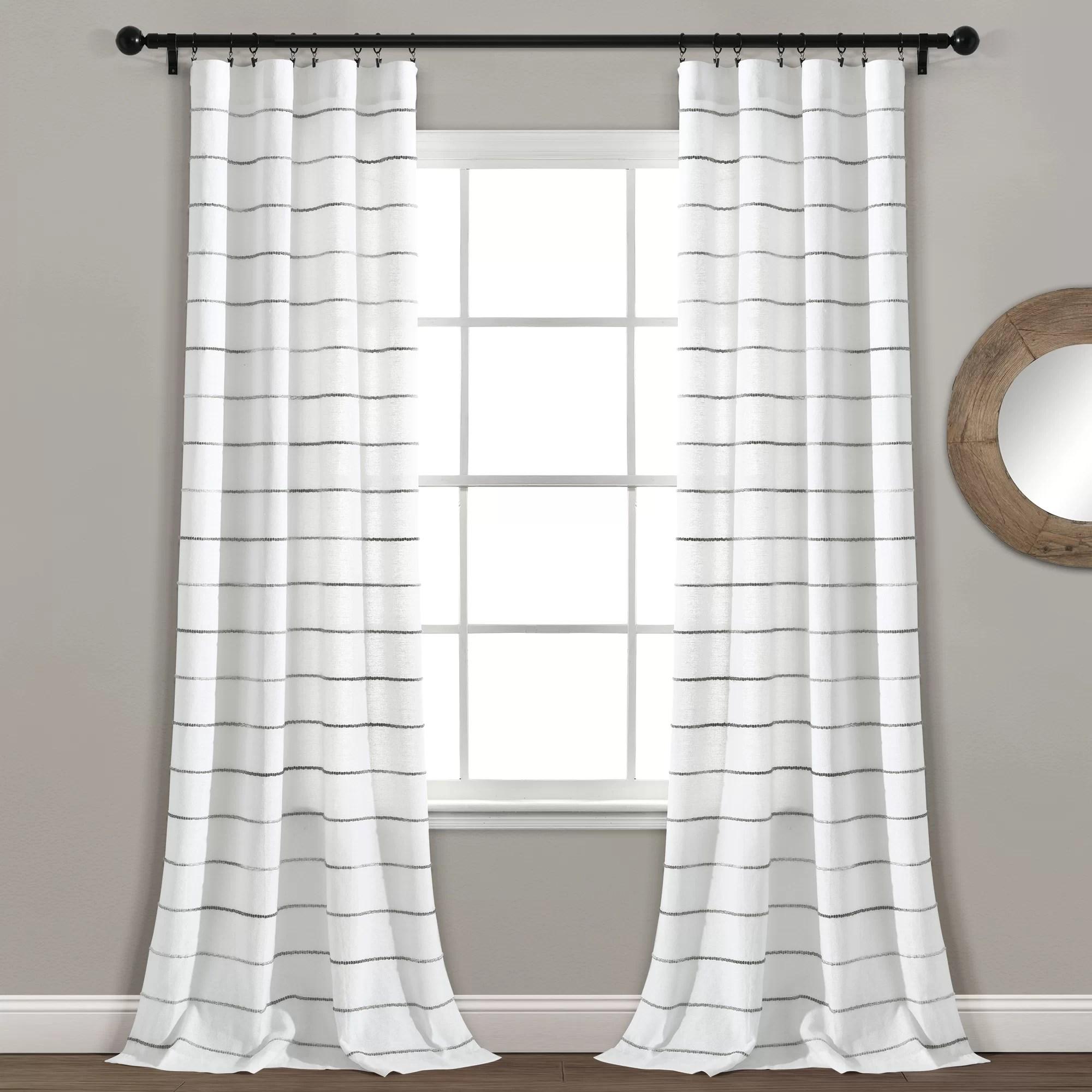 damarcus striped semi sheer curtain panels