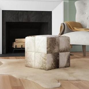 viqueque leather cube ottoman
