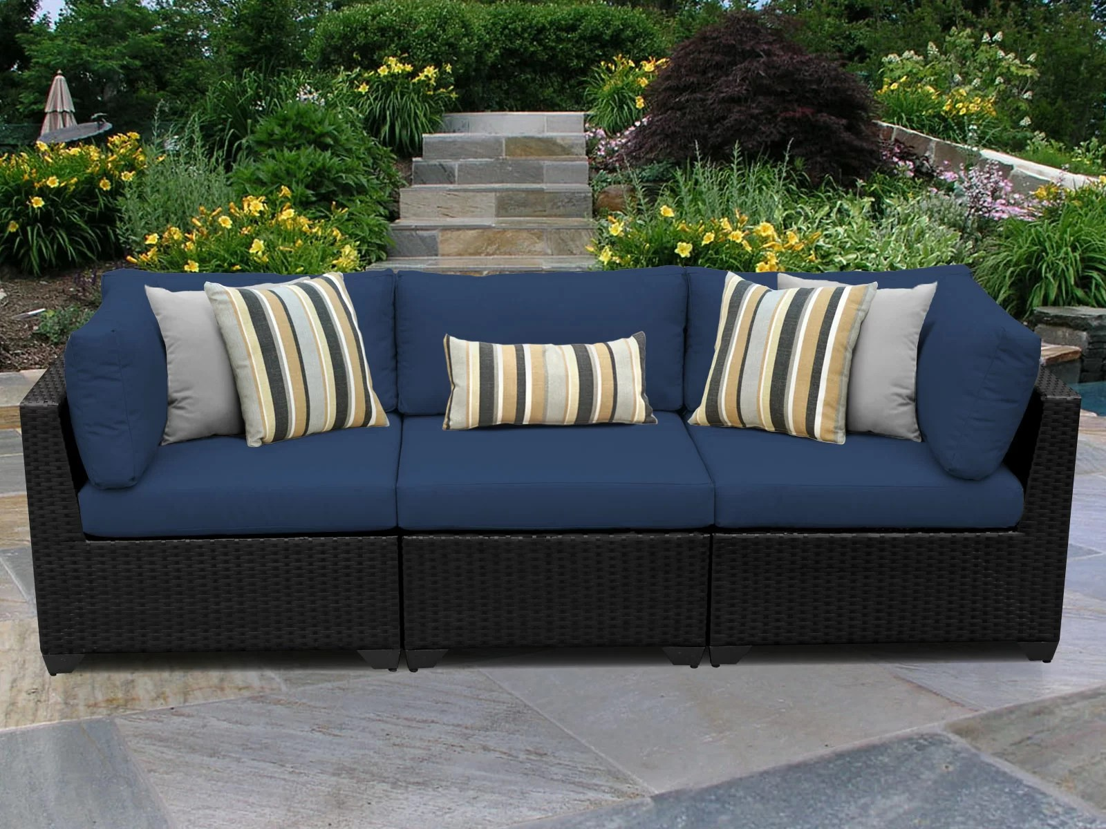 fernando 89 5 wide outdoor wicker patio sofa with cushions