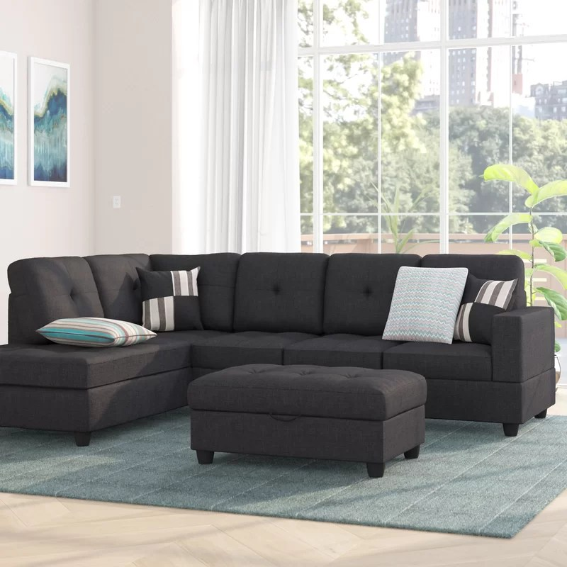 mauzy 103 5 wide linen left hand facing sofa chaise with ottoman